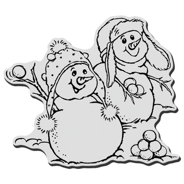 Stampendous Christmas Cling Rubber Stamp - Snowball Fight