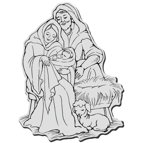Stampendous Christmas Cling Rubber Stamp - Manger Family