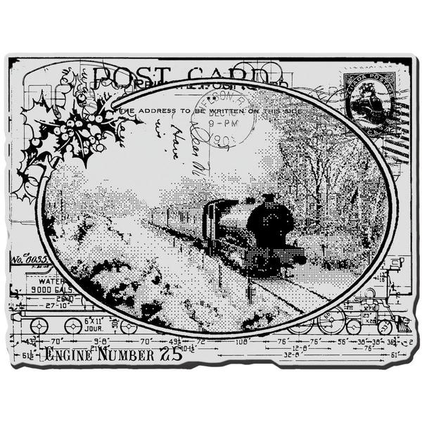 Stampendous Christmas Cling Rubber Stamp - Train Postcard