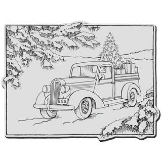 Stampendous Christmas Cling Rubber Stamp - Truck Of Gifts