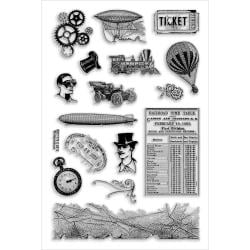 Stampendous Perfectly Clear Stamps 4 X6 Sheet - Steampunk Charms