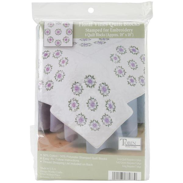 Stamped White Quilt Blocks 18 X18 6/Pkg - Floral Vine
