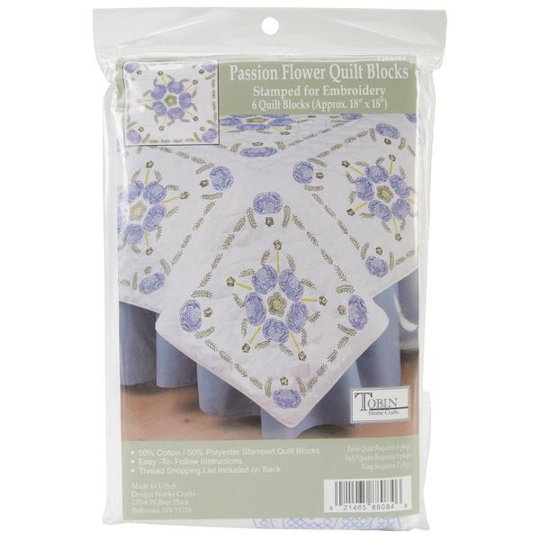 Stamped White Quilt Blocks 18 X18 6/Pkg - Passion Flower
