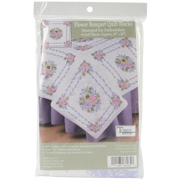 Stamped White Quilt Blocks 18 X18 6/Pkg - Floral Bouquet
