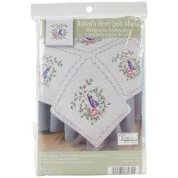 Stamped White Quilt Blocks 18 X18 6/Pkg - Butterfly Heart