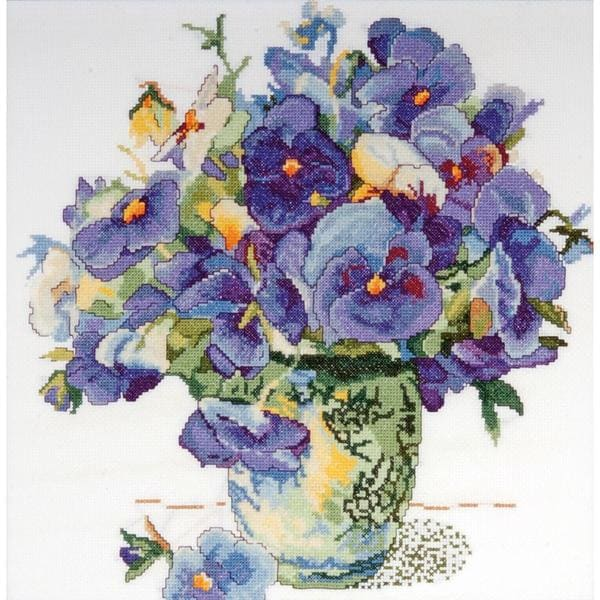 Pansy Floral Counted Cross Stitch Kit - 14 X14 14 Count