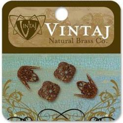 Vintaj Metal Bead Caps 4/Pkg - Ornate Filigree 12mm