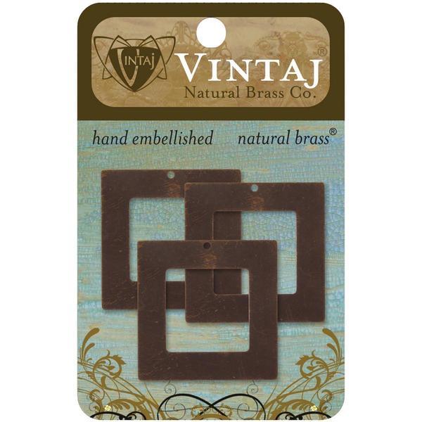 Vintaj Metal Accents 3/Pkg - Square Frame 29mm