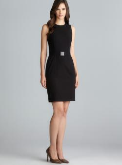 Calvin Klein Black Belted Petite Shift Dress
