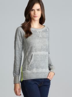 Central Park Gray Side Zip Kangaroo Pocket Pullover