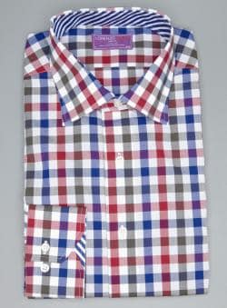 Lorenzo Uomo Multi Color Trim Fit Gingham Button Down