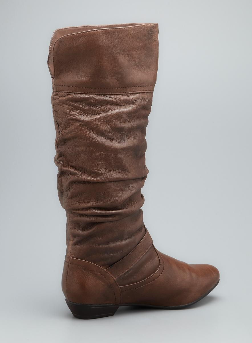 Steve Madden Kambyy Slouched Leather Buckle Boot