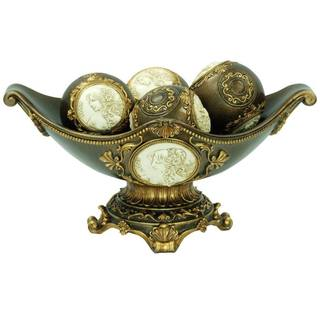 Handcrafted Bronze 8-inch High Decorative Bowl with Decorative Spheres