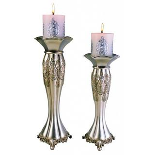Traditional Royal Silver Metalic Candleholders (Set of 2)