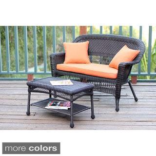 Espresso Wicker Love Seat/Coffee Table Set