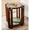 Furniture of America Esseli Round Vintage Walnut End Table
