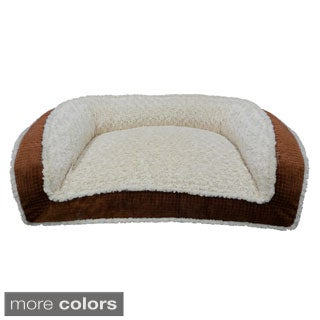 Facets Embossed Micro Velvet Couch Style Rectangle Bolster Pet Bed