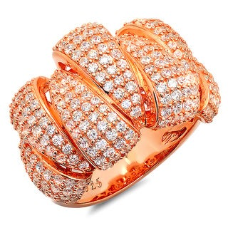 Rose Gold over Sterling Silver Cubic Zirconia Claw Design Ring