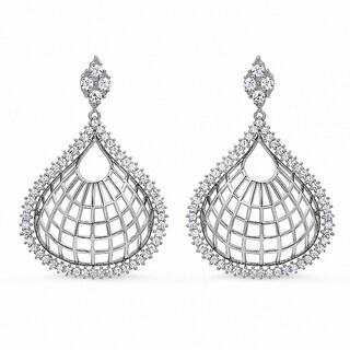 Sterling Silver Clear Cubic Zirconia Teardrop-shaped Earrings