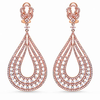 Rose Gold over Sterling Silver Cubic Zirconia Teardrop-shaped Earrings
