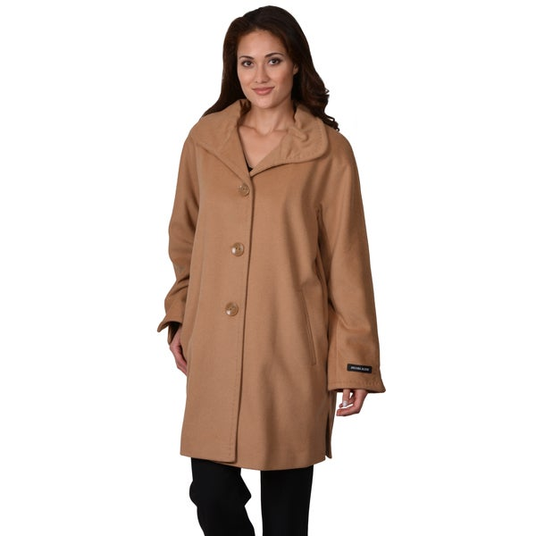 Ellen Tracy Women's Plus Wool Blend Button-up Coat