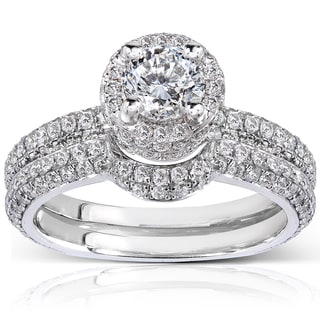 Annello 14k White Gold 2ct TDW Diamond Bridal Set (H-I, I1-I2)