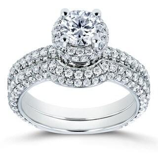 Annello 14k White Gold 2ct TDW Diamond Bridal Set (H-I, I1-I2)