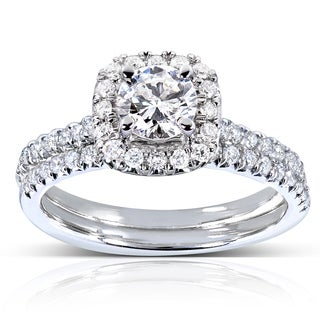 Annello 14k White Gold 7/8ct TDW Halo Round Diamond Bridal Set (H-I, I1-I2)