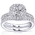 Annello 14k White Gold 1 5/8ct TDW Cushion and Round Halo Diamond Bridal Set (H-I, SI1-SI2)
