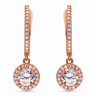 Rose Gold over Sterling Silver Cubic Zirconia Circle Earrings