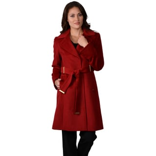 Ellen Tracy Women's Belted Wool Blend Coat