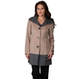 Ellen Tracy Women's Wool Blend Colorblocked Coat