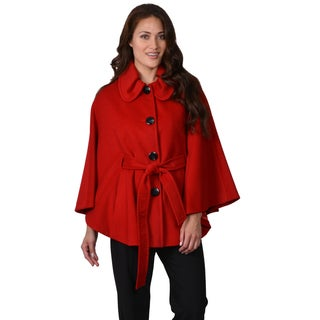 Ellen Tracy Women's Belted Wool Blend Cape Coat