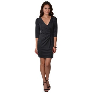 Jessica Simpson Women's V-neck Zipper Detail Dress