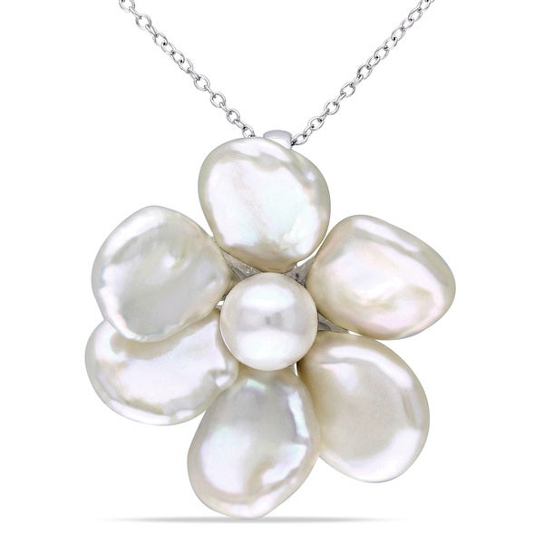 Miadora Sterling Silver White Pearl Flower Necklace (9-10 mm)