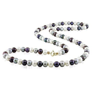 Miadora 10k Yellow Gold Black, White and Grey Pearl Necklace (4-5 mm)