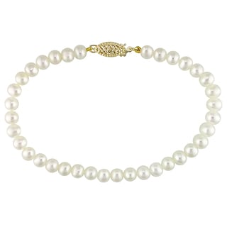 M by Miadora 14k Yellow Gold White Cultured Freshwater Pearl Bracelet (4-5 mm)