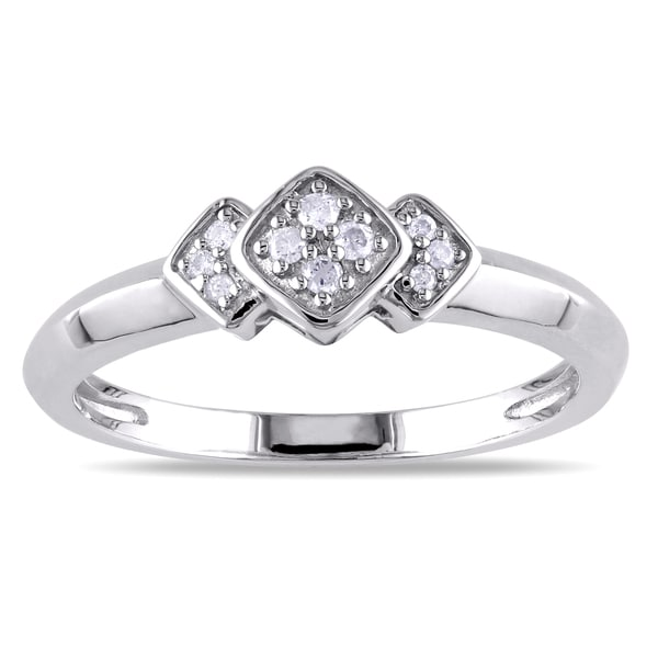 Haylee Jewels Sterling Silver Geometric Diamond Ring (H-I, I2-I3)