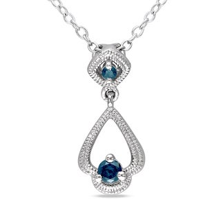 Miadora Sterling Silver 1/6ct TDW Blue Diamond Necklace (I2-I3)