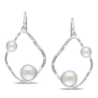 Miadora Sterling Silver White Pearl Earring (6-9 mm)