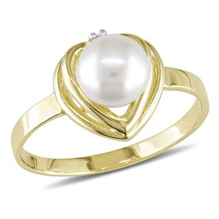 Miadora 10k Yellow Gold Akoya Pearl and Diamond Ring (5.5-6 mm)