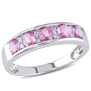 Miadora 14k White Gold Pink Sapphire and Diamond Ring (H-I, I1-I2)