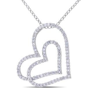 Miadora Sterling Silver 1/2ct TDW Diamond Heart Necklace (H-I, I2-I3)