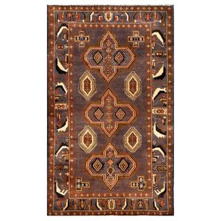 Afghan Hand-knotted Tribal Balouchi Lavendar/ Brown Wool Rug (4' x 6'8)