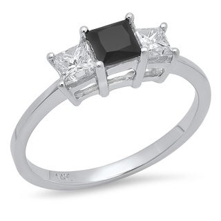 14k White Gold 1ct TDW Princess-cut Black and White Diamond Ring (H-I, I1-I2)