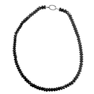 Sterling Silver Black Spinel 20-inch Necklace
