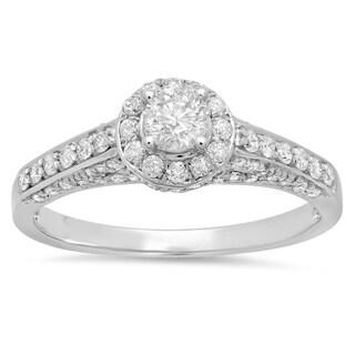 14k White Gold 1ct TDW Round Cut Halo Diamond Engagement Ring