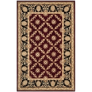 Safavieh Handmade Naples Burgundy/ Black Wool Rug (8' x 11')
