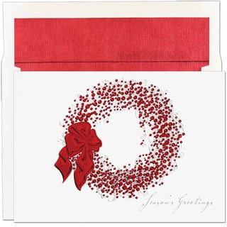Red Foil Wreath Boxed Holiday Cards
