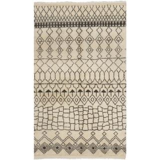Safavieh Loft Cream/ Brown Hand-knotted New Zealand Wool Area Rug (6' x 9')